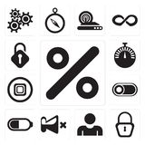 Set of Percent, Locked, User, Mute, Battery, Switch, Stop, Stopw. Set Of 13 simple editable icons such as Percent, Locked, User, Mute, Battery, Switch, Stop royalty free illustration