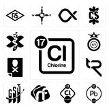 Set of periodic table chlorine, chemical, nf, gst, tr, blacklisted, oligarchy, paramedic icons. Set Of 13 simple editable icons such as periodic table chlorine Royalty Free Stock Photography