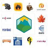 Set of pic, , greek, euro, maple leaf, icons. Set Of 13 simple editable icons such as pic, , greek, euro, maple leaf, can be used for mobile, web UI Stock Photos