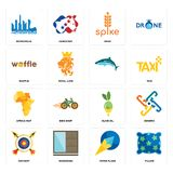 Set of pillow, paper plane, archery, olive oil, africa map, , waffle, spike, metropolis icons. Set Of 16 simple editable icons such as pillow, paper plane Stock Images