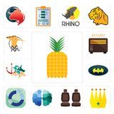 Set of pinapple, crown, car seat, free brain, sector, bat, myth, heater, hoopoe icons. Set Of 13 simple editable icons such as pinapple, crown, car seat, free Stock Image