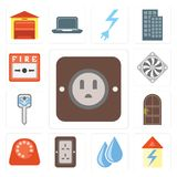Set of Plug, Home, Water, Dial, Door, Smart key, Cooler, Fire al royalty free illustration