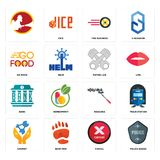 Set of police badge, cancel, chemist, mascara, bank, piston log, go food, tire business, icons. Set Of 16 simple editable icons such as police badge, cancel Stock Photo
