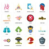 Set of police badge, , tire business, doll, lungs, cancel, parachute, window cleaning, pregnancy icons. Set Of 16 simple editable icons such as police badge Stock Image