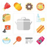 Set of Pot, Jam, Mixer, Jawbreaker, Pasta, Hot dog, Seeds, Dairy. Set Of 13 simple editable icons such as Pot, Jam, Mixer, Jawbreaker, Pasta, Hot dog, Seeds Royalty Free Illustration