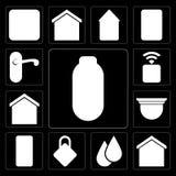 Set of Power, Smart home, Water, Locking, Mobile, Security camera, Socket, Doorknob, editable icon pack vector illustration