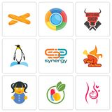 Set Of 9 simple editable icons such as pregnancy, homeopathy, doll. Fried chicken, synergy, penguin, butcher shop, baguette, can be used for mobile, web Stock Images