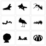 Set Of 9 simple editable icons such as pumpkin, montana, afro. Arkansas, stork, ant, goldfish, hippo, can be used for mobile, web Stock Photo