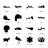 Set of pumpkin, star david, hippo, turkey leg, afro, ohio, raccoon, , london icons. Set Of 16 simple editable icons such as pumpkin, star of david, stork, hippo Royalty Free Stock Image