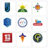 Set Of 9 simple editable icons such as qf, travel, 1 year warranty. Hair dresser, unisex salon, atlas, passion fruit, agro, jf, can be used for mobile, web Stock Image