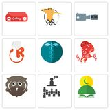 Set Of 9 simple editable icons such as quran, public relations, free owl. Hipaa, resturant, footage, hoopoe, catering, can be used for mobile, web Royalty Free Stock Photo