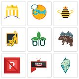 Set Of 9 simple editable icons such as rams, all news channel, no parking. Free bear, biodegradable, lion cub, queen bee, chef, banque, can be used for mobile Stock Photography