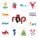 Set of rap, , 21 birthday, all in one, savage, mart, silent, great clips, tortilla icons. Set Of 13 simple editable icons such as rap, , 21 birthday, all in one Royalty Free Stock Image