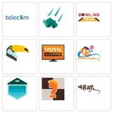 Set Of 9 simple editable icons such as rat, chess knight, garage door. 45th anniversary, 100 guarantee, toucan, bowling team, meteorite, telecom, can be used Royalty Free Stock Image