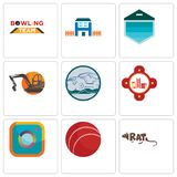 Set Of 9 simple editable icons such as rat, cricket ball, camera. Fire station, offroad, digger, garage door, h house, bowling team, can be used for mobile Stock Photo