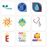 Set Of 9 simple editable icons such as 3rd anniversary, abacus, e crown. Gynecology, crossed skis, d-star, no water, er, urology, can be used for mobile, web Royalty Free Stock Photos