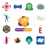 Set of 3rd anniversary, h, baboon, outlaw, kayak, e crown, dump truck, carwash, ambition icons. Set Of 13 simple editable icons such as 3rd anniversary, h Stock Images