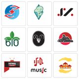 Set Of 9 simple editable icons such as realtor, music, all news channel. Kart, ram, biodegradable, jz, rams, medicare, can be used for mobile, web Stock Photos