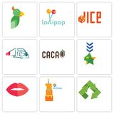 Set Of 9 simple editable icons such as recycle, first birthday, lips. Military, truck company, dice, lollipop, , can be used for mobile, web Stock Photography