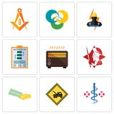 Set Of 9 simple editable icons such as registe nurse, towing, money back guarantee. Spartan, heater, action plan, electrician, triskelion, masonic, can be used Royalty Free Stock Image