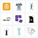 Set Of 9 simple editable icons such as request a quote, cell tower, sprinkler. Bag of chips, adaptability, page turn, elastic, waterfall, municipality, can be Stock Photo