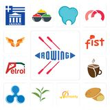 Set of rowing, potato, warranty, tea leaf, ripple, cafeteria, petrol, fist, angel wings icons. Set Of 13 simple editable icons such as rowing, potato, warranty Royalty Free Stock Photos