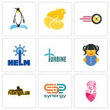 Set Of 9 simple editable icons such as salon, synergy, fight club. Doll, turbine, helm, tire business, chick, penguin, can be used for mobile, web Royalty Free Stock Photography