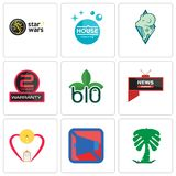 Set Of 9 simple editable icons such as saudi palm, mobile silent, breastfeeding. All news channel, biodegradable, 2 years warranty, rams, house cleaning, star Royalty Free Stock Photography