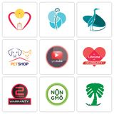 Set Of 9 simple editable icons such as saudi palm, non gmo, 2 years warranty. Lifetime pinetree, petshop, heron, neurosurgery, breastfeeding, can be used for Royalty Free Stock Photography