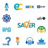 Set of saver, paperboat, audio visual, indian restaurant, who, hand holding plant, h2o, afro, drummer icons. Set Of 13 simple editable icons such as saver Royalty Free Stock Photo