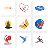 Set Of 9 simple editable icons such as scorpion, colibri, 60th anniversary. French bulldog, monarch butterfly, wizard hat, f, insurance, painting company, can Stock Images