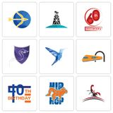 Set Of 9 simple editable icons such as scorpion, hip hop, 40th birthday. Train, colibri, viper, 60th anniversary, oil derrick, sagittarius, can be used for Stock Images