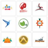Set Of 9 simple editable icons such as scorpions, spartan shield, norse. Spare parts, veg, colibri, scorpion, 60th anniversary, kids club, can be used for Royalty Free Stock Photo