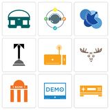 Set Of 9 simple editable icons such as set top box, demo, bank branch. Moose, concierge, telecom, travel agent, vr headset, can be used for mobile, web Stock Photo