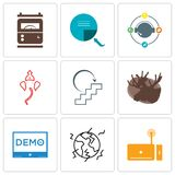 Set Of 9 simple editable icons such as set top box, earthquake, demo. Moose, next steps, ganesh, travel agent, page turn, electric meter, can be used for Stock Photos