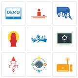Set Of 9 simple editable icons such as set top box, travel agent, ganesh. Buffering, earthquake, fire hydrant, discussion board, hospitality, demo, can be used Royalty Free Stock Photos