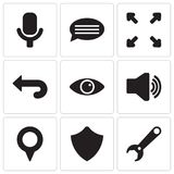 Set Of 9 simple editable icons such as Settings, Shield, Pin, Audio, View, Back, Expand, Chat, Microphone, pixel perfect vector ic Stock Photo