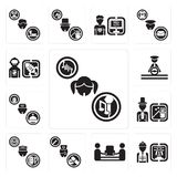Set of Singer, Worker, mover, Nurse, Taxi driver, Magician, Concierge, Driver, Spaceman icons. Set Of 13 simple editable icons such as Singer, Worker, mover Stock Photo