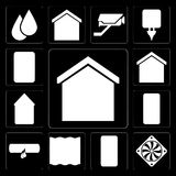 Set of Smart home, Cooler, Deep, Leak, Smartphone, Home, Plug, e. Set Of 13 simple editable icons such as Smart home, Cooler, Deep, Leak, Smartphone, Home, Plug royalty free illustration