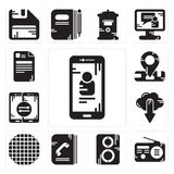 Set of Smartphone, Radio, Speaker, Phone book, Grid, Cloud computing, Location, File icons. Set Of 13 simple editable icons such as Smartphone, Radio, Speaker Stock Photography