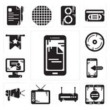 Set of Smartphone, Router, Television, Protest, Video call, Compact disc, Banner icons. Set Of 13 simple editable icons such as Smartphone, Router, Television Stock Photos