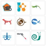 Set Of 9 simple editable icons such as snails, mascara, navy anchor. Aeroplane, coffe, year of the dog, lizard, chemical company, motorcycle shop, can be used Royalty Free Stock Image