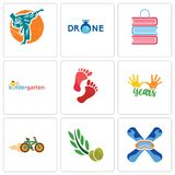 Set Of 9 simple editable icons such as snowboard, olive leaves, bike shop. 10 years, foot print, kindergarten, book martial arts, can be used for mobile, web Royalty Free Stock Photo