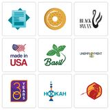 Set Of 9 simple editable icons such as sparta, hookah, 30 year. Unemployment, basil, made in usa, black swan, bagel, statement, can be used for mobile, web Royalty Free Stock Image