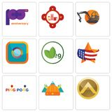 Set Of 9 simple editable icons such as spartan shield, norse, ping pong. Us map, veg, camera, digger, fire station, 100th anniversary, can be used for mobile Royalty Free Stock Image