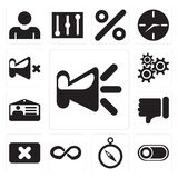 Set of Speaker, Switch, Compass, Infinity, Close, Dislike, Id ca. Set Of 13 simple editable icons such as Speaker, Switch, Compass, Infinity, Close, Dislike, Id stock illustration