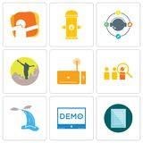 Set Of 9 simple editable icons such as specification, demo, waterfall. Advisor, set top box, hiker, travel agent, fire hydrant, dab, can be used for mobile Royalty Free Stock Image