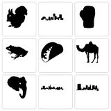 Set Of 9 simple editable icons such as state of ohio, texas, elephant head Stock Photography