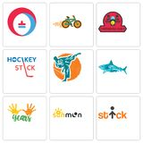 Set Of 9 simple editable icons such as stick figure, sun moon, 10 years. Sharks, martial arts, hockey stick, motorcycle club, bike shop, heating cooling, can Stock Images