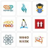 Set Of 9 simple editable icons such as super market, woodwork, celtic knot. This side up, penguin, go food, doll, flame, synergy, can be used for mobile, web Royalty Free Stock Image